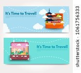 it s time to travel.trip to...   Shutterstock .eps vector #1061756333