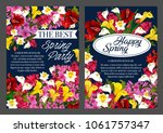 spring party banner with... | Shutterstock .eps vector #1061757347