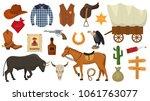 wild west vector western cowboy ... | Shutterstock .eps vector #1061763077