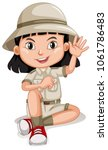 a cute girl scout on white...   Shutterstock .eps vector #1061786483