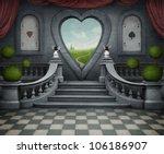 Background Room With  Door In...