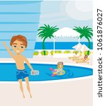 rest by the pool | Shutterstock . vector #1061876027