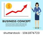 businesswoman and graph with... | Shutterstock .eps vector #1061876723
