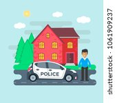 police patrol on a road with... | Shutterstock .eps vector #1061909237