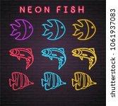 fish set neon light glowing... | Shutterstock .eps vector #1061937083