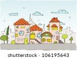 sketch city background | Shutterstock .eps vector #106195643