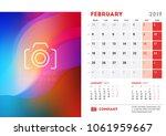 february 2019. desk calendar... | Shutterstock .eps vector #1061959667