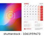 april 2019. desk calendar...   Shutterstock .eps vector #1061959673