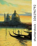 gondolas on landing stage in venice, painting by oil paints on a canvas, illustration - stock photo