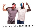 football fans supporters with... | Shutterstock . vector #1061979713
