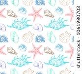 seamless pattern. shells...   Shutterstock .eps vector #1061980703