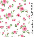 Stock vector big and small rose flowers pattern with leaves 1061985053