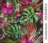 watercolor tropical floral... | Shutterstock . vector #1062048413