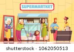 supermarket shoppers queue... | Shutterstock .eps vector #1062050513