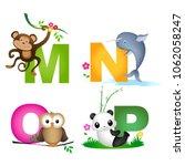 animal alphabet letter m  n  o  ... | Shutterstock .eps vector #1062058247