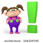 cute little cartoon girl with exclamation mark - high quality 3d illustration - stock photo