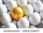 golden egg among white hen eggs ... | Shutterstock . vector #1062118457
