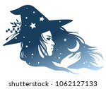 silhouette of a pretty witch... | Shutterstock .eps vector #1062127133