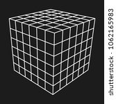 wireframe mesh cube. connection ... | Shutterstock . vector #1062165983