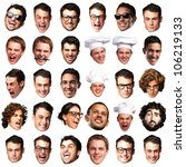 big collection of peoples faces ... | Shutterstock . vector #106219133