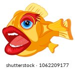 comic fish crock with human lip ... | Shutterstock .eps vector #1062209177