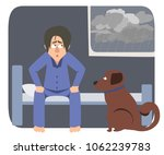 sad dog's owner waking up in... | Shutterstock .eps vector #1062239783