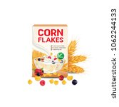 berry corn flakes   cereal... | Shutterstock .eps vector #1062244133