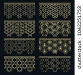 set of golden seamless borders  ... | Shutterstock .eps vector #1062251753