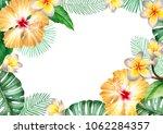 watercolor tropical floral... | Shutterstock . vector #1062284357