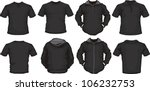 vector set of men's shirts template in black, front and back design, check out my portfolio for different t-shirt templates