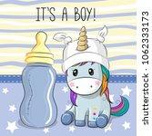 cute cartoon unicorn boy with... | Shutterstock .eps vector #1062333173