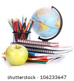 globe  notebook stack and... | Shutterstock . vector #106233647