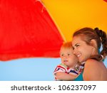 happy mother and kid looking on ... | Shutterstock . vector #106237097