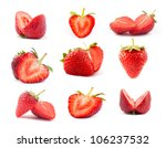 The fresh cut strawberries set on a clear white background - stock photo