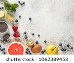 ingredients for chia water and... | Shutterstock . vector #1062389453