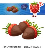 chocolate covered strawberries... | Shutterstock .eps vector #1062446237