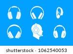 headphones icon set. simple set ... | Shutterstock .eps vector #1062540053
