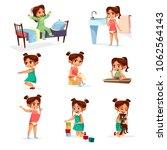 vector cartoon girl daily... | Shutterstock .eps vector #1062564143