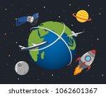 satellite  planet  rocket plane ... | Shutterstock .eps vector #1062601367