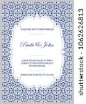 vintage wedding invitation...   Shutterstock .eps vector #1062626813