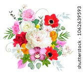 bouquet with peony and anemones | Shutterstock .eps vector #1062639593