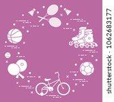 badminton rackets and... | Shutterstock .eps vector #1062683177