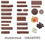 A collection of 25 chocolate candies shot from an overhead view isolated on white. - stock photo