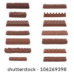 A collection of 14 chocolate bars isolated on white. - stock photo