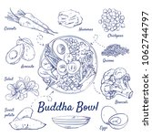 doodle set of buddha bowl  ... | Shutterstock .eps vector #1062744797