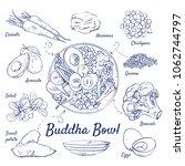 doodle set of buddha bowl  ... | Shutterstock .eps vector #1062744797