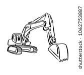 doodle outline front hoe loader ... | Shutterstock .eps vector #1062753887