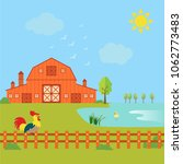 farming concept with house ... | Shutterstock .eps vector #1062773483