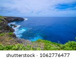 Small photo of Seascape from banzai cliff, a popular attraction in Saipan