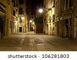 A Street In Venice In Night